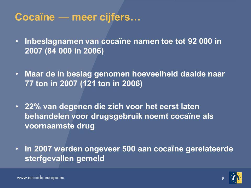9 Cocaïne — meer cijfers… Inbeslagnamen van cocaïne namen toe tot 92 000 in 2007 (84 000 in 2006) Maar de in beslag genomen hoeveelheid daalde naar 77