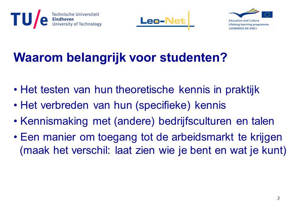 3 Waarom belangrijk voor studenten? Het testen van hun theoretische kennis in praktijk Het verbreden van hun (specifieke) kennis Kennismaking met (and