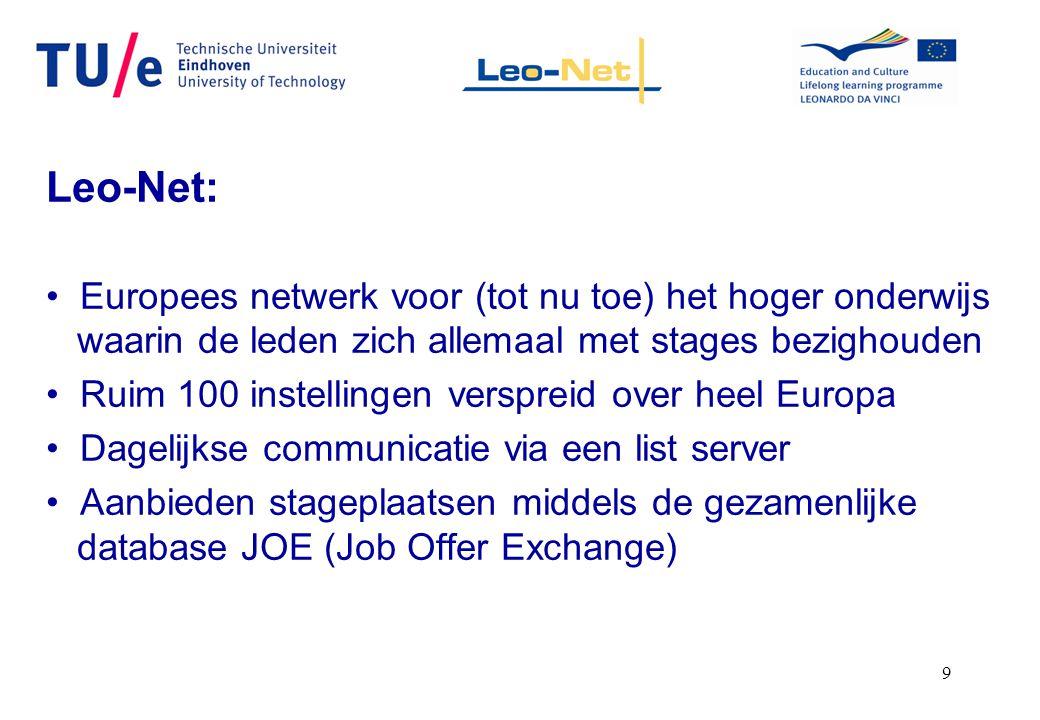 9 Leo-Net: Europees netwerk voor (tot nu toe) het hoger onderwijs waarin de leden zich allemaal met stages bezighouden Ruim 100 instellingen verspreid