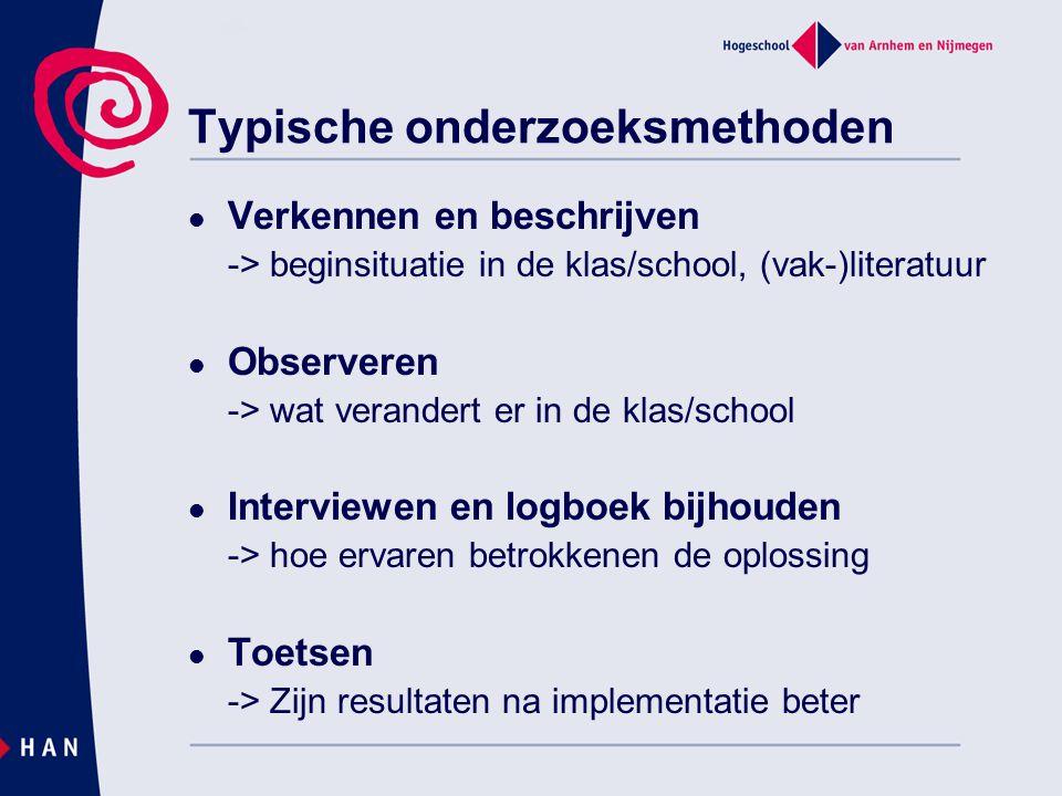 Verkennen en beschrijven -> beginsituatie in de klas/school, (vak-)literatuur Observeren -> wat verandert er in de klas/school Interviewen en logboek