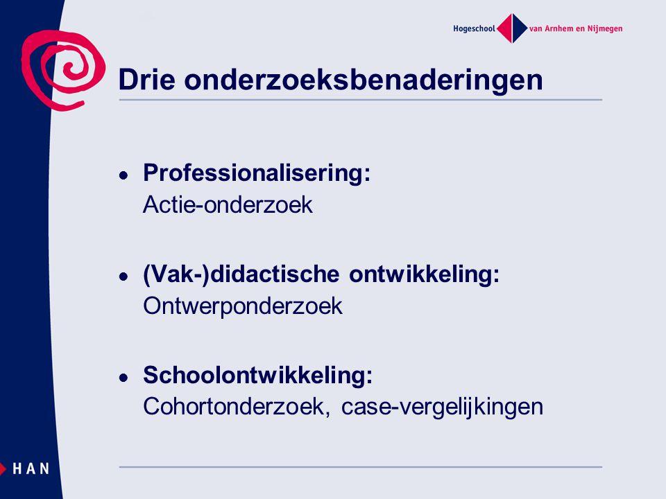 Professionalisering: Actie-onderzoek (Vak-)didactische ontwikkeling: Ontwerponderzoek Schoolontwikkeling: Cohortonderzoek, case-vergelijkingen Drie on