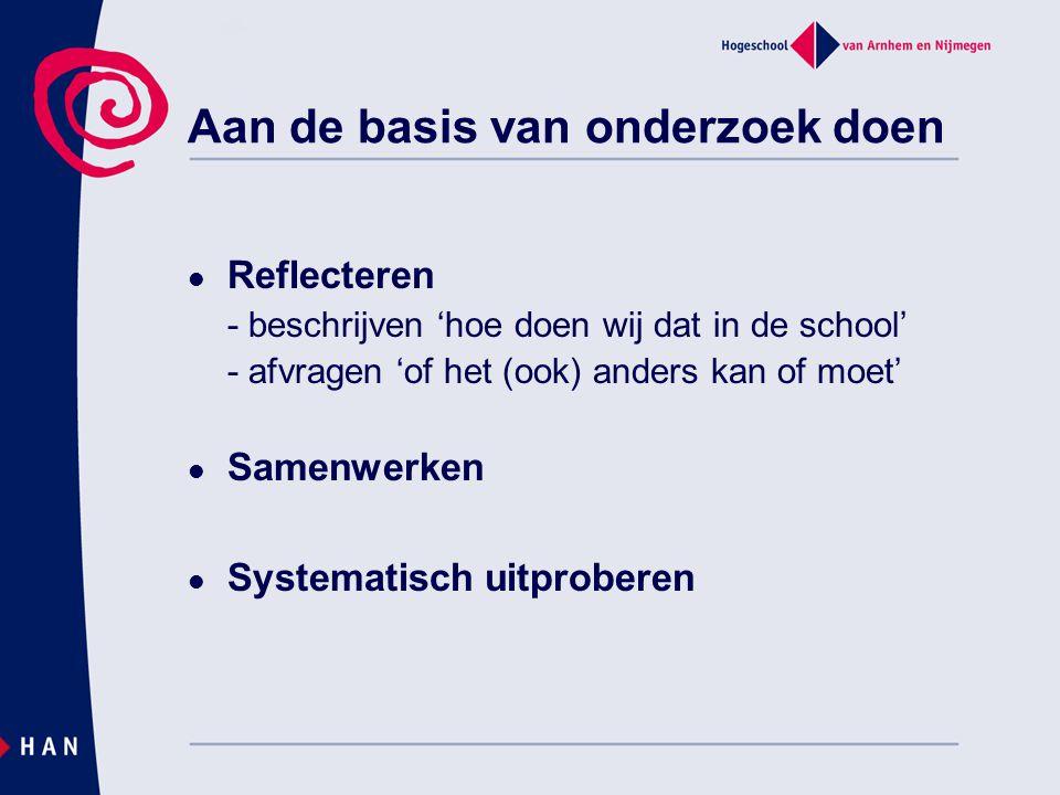 Reflecteren - beschrijven 'hoe doen wij dat in de school' - afvragen 'of het (ook) anders kan of moet' Samenwerken Systematisch uitproberen Aan de bas