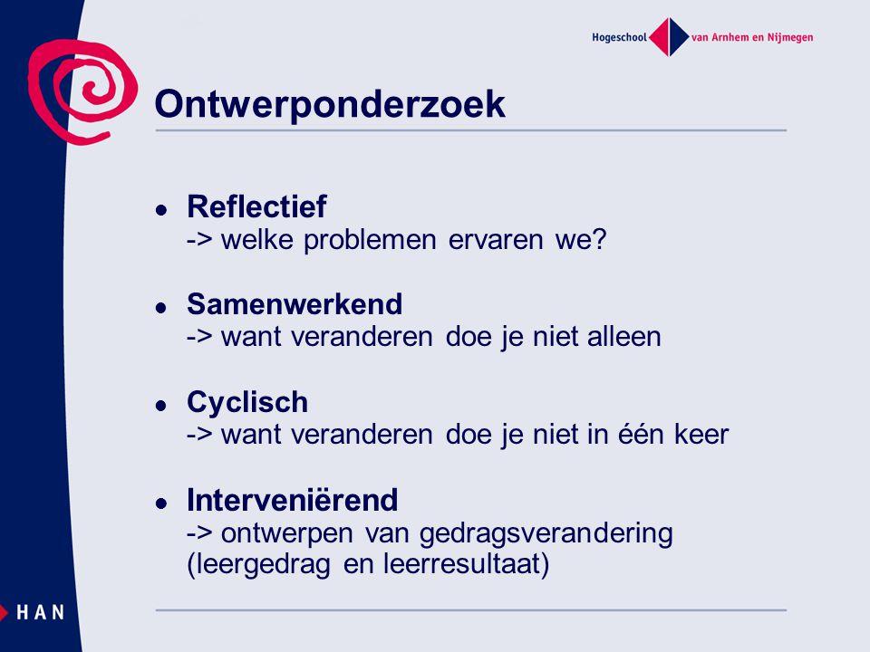 Reflectief -> welke problemen ervaren we? Samenwerkend -> want veranderen doe je niet alleen Cyclisch -> want veranderen doe je niet in één keer Inter