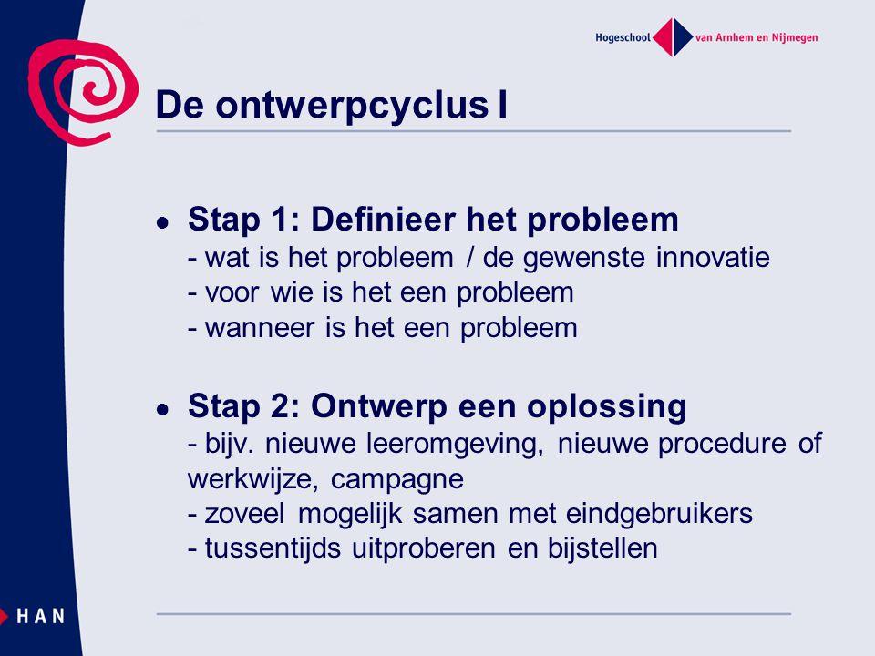 Stap 3: Implementeer de oplossing - laten kennis maken met de oplossing - iedereen of een pilot groep - is de oplossing gebruikt zoals bedoeld Stap 4: Evalueer de oplossing - hoe is het gegaan (proces) - voor wie heeft het wel/niet gewerkt (resultaat) - waarom heeft het wel/niet gewerkt De ontwerpcyclus II