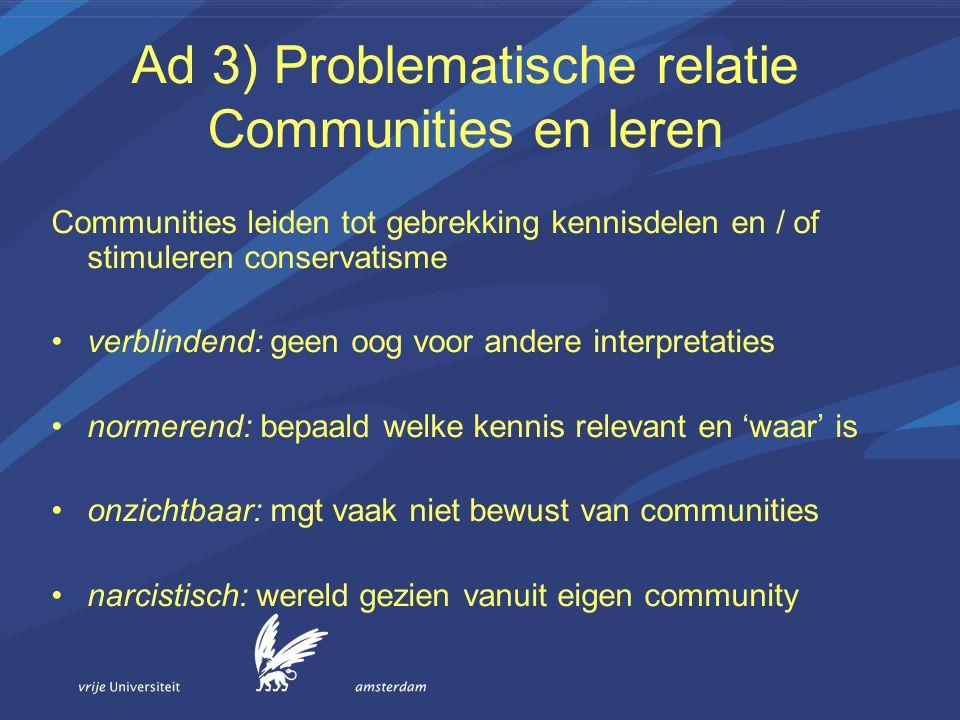 Ad 3) Problematische relatie Communities en leren Communities leiden tot gebrekking kennisdelen en / of stimuleren conservatisme verblindend: geen oog