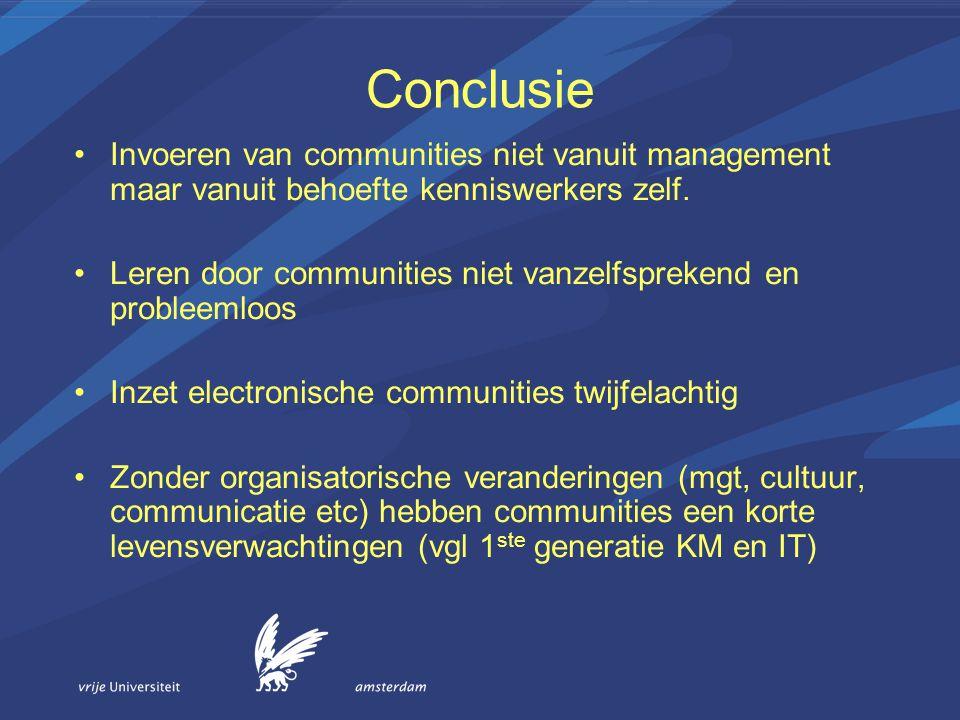 Conclusie Invoeren van communities niet vanuit management maar vanuit behoefte kenniswerkers zelf. Leren door communities niet vanzelfsprekend en prob