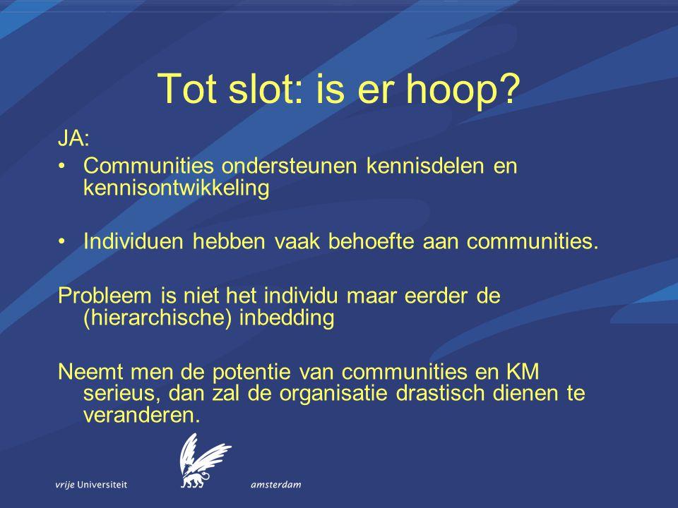 Tot slot: is er hoop? JA: Communities ondersteunen kennisdelen en kennisontwikkeling Individuen hebben vaak behoefte aan communities. Probleem is niet