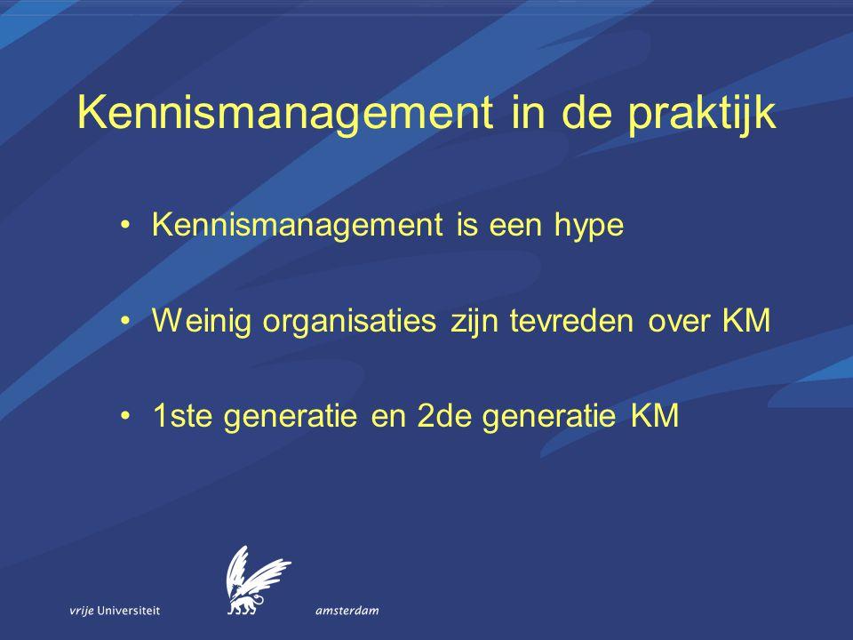 Kennismanagement in de praktijk Kennismanagement is een hype Weinig organisaties zijn tevreden over KM 1ste generatie en 2de generatie KM