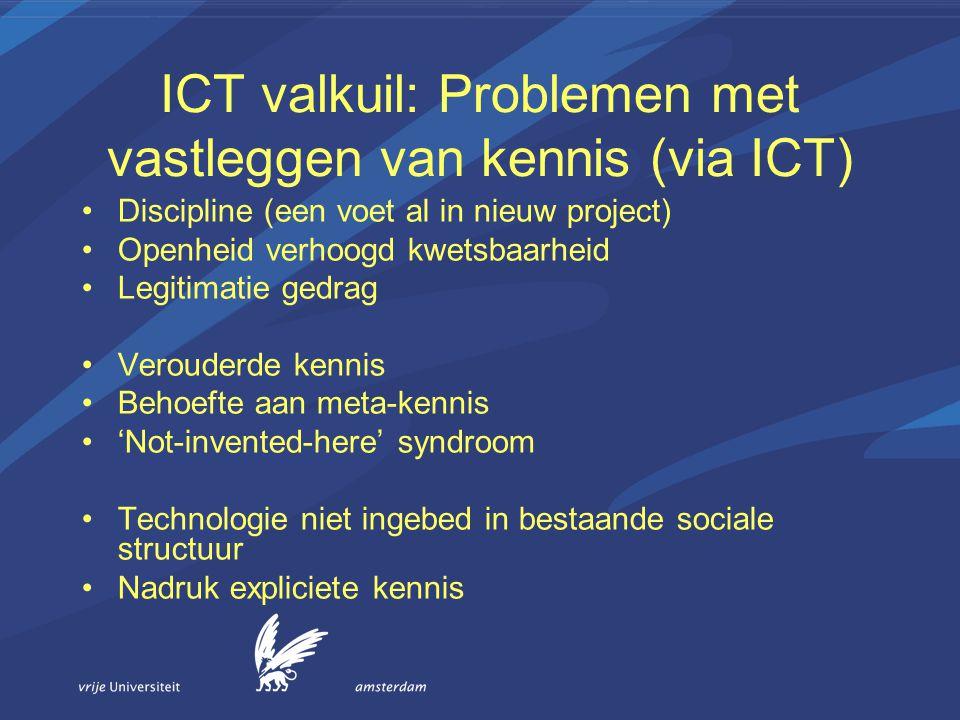 ICT valkuil: Problemen met vastleggen van kennis (via ICT) Discipline (een voet al in nieuw project) Openheid verhoogd kwetsbaarheid Legitimatie gedra