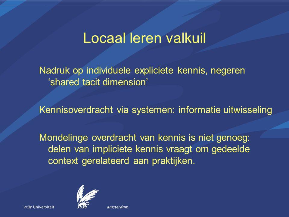 Locaal leren valkuil Nadruk op individuele expliciete kennis, negeren 'shared tacit dimension' Kennisoverdracht via systemen: informatie uitwisseling