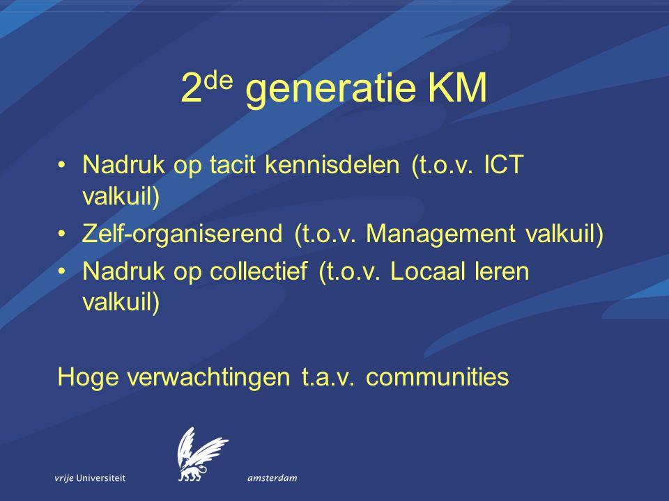 2 de generatie KM Nadruk op tacit kennisdelen (t.o.v. ICT valkuil) Zelf-organiserend (t.o.v. Management valkuil) Nadruk op collectief (t.o.v. Locaal l