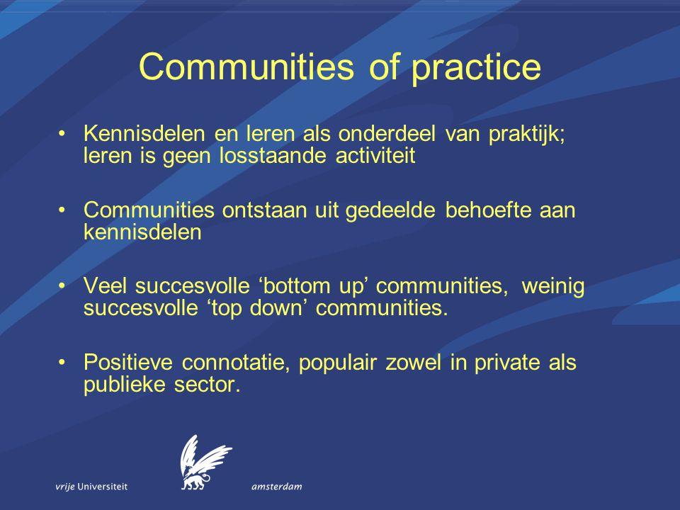 Communities of practice Kennisdelen en leren als onderdeel van praktijk; leren is geen losstaande activiteit Communities ontstaan uit gedeelde behoeft