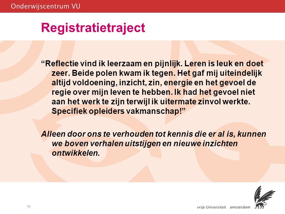 11 Registratietraject Reflectie vind ik leerzaam en pijnlijk.