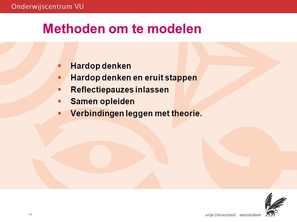 14 Methoden om te modelen  Hardop denken  Hardop denken en eruit stappen  Reflectiepauzes inlassen  Samen opleiden  Verbindingen leggen met theorie.