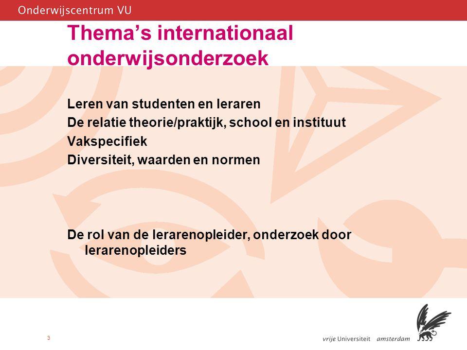 3 Thema's internationaal onderwijsonderzoek Leren van studenten en leraren De relatie theorie/praktijk, school en instituut Vakspecifiek Diversiteit, waarden en normen De rol van de lerarenopleider, onderzoek door lerarenopleiders