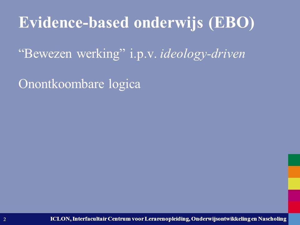"""Leiden University. The university to discover. ICLON, Interfacultair Centrum voor Lerarenopleiding, Onderwijsontwikkeling en Nascholing 2 """"Bewezen wer"""