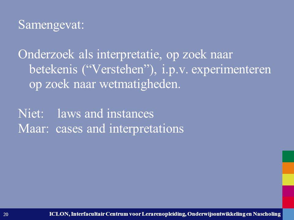 Leiden University. The university to discover. ICLON, Interfacultair Centrum voor Lerarenopleiding, Onderwijsontwikkeling en Nascholing 20 Samengevat: