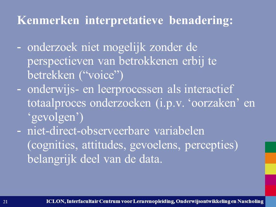 Leiden University. The university to discover. ICLON, Interfacultair Centrum voor Lerarenopleiding, Onderwijsontwikkeling en Nascholing 21 Kenmerken i