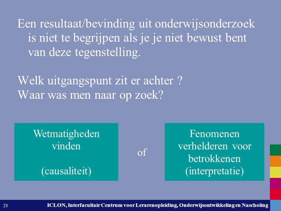 Leiden University. The university to discover. ICLON, Interfacultair Centrum voor Lerarenopleiding, Onderwijsontwikkeling en Nascholing 23 Een resulta