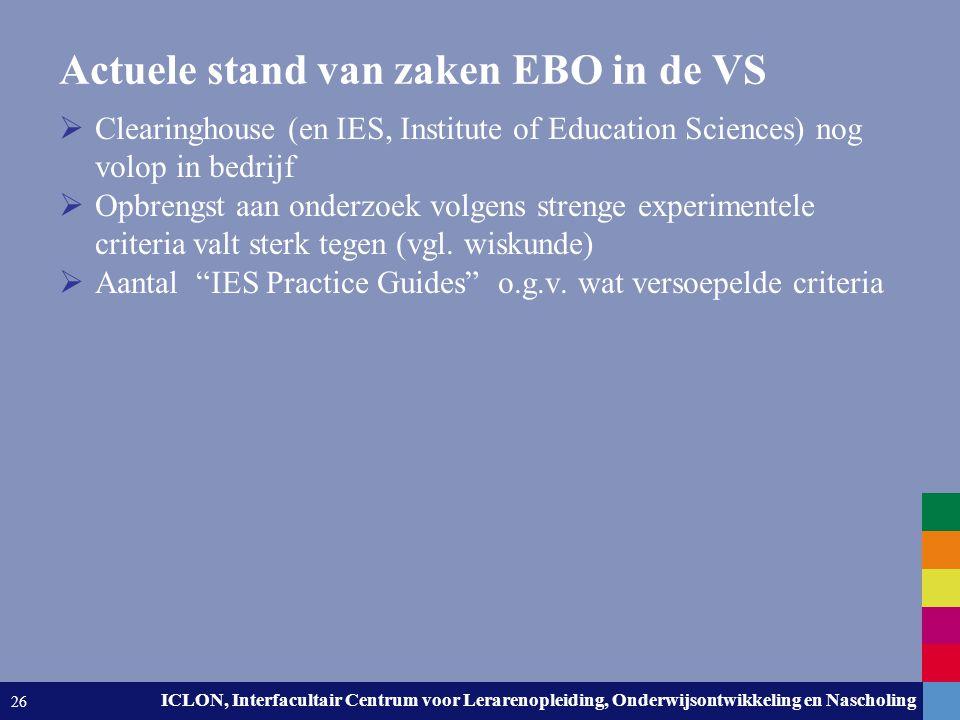 Leiden University. The university to discover. ICLON, Interfacultair Centrum voor Lerarenopleiding, Onderwijsontwikkeling en Nascholing 26 Actuele sta