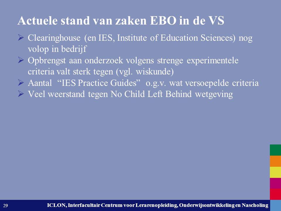 Leiden University. The university to discover. ICLON, Interfacultair Centrum voor Lerarenopleiding, Onderwijsontwikkeling en Nascholing 29 Actuele sta