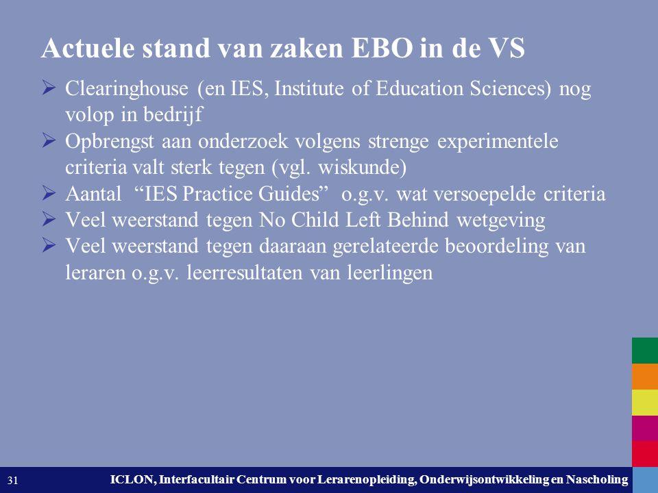 Leiden University. The university to discover. ICLON, Interfacultair Centrum voor Lerarenopleiding, Onderwijsontwikkeling en Nascholing 31 Actuele sta
