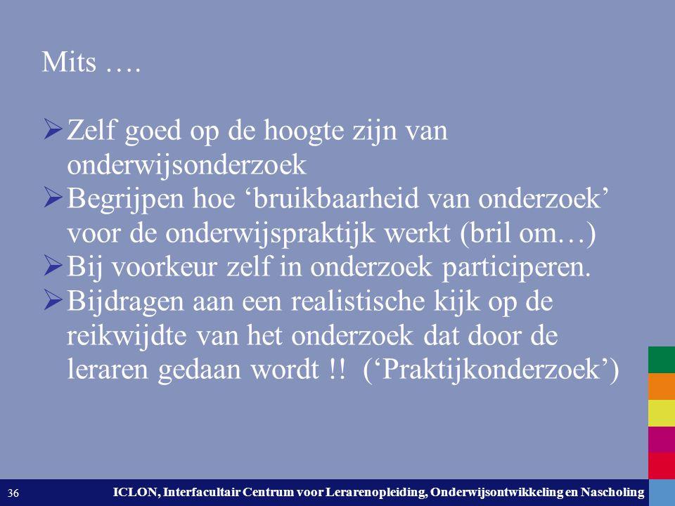 Leiden University. The university to discover. ICLON, Interfacultair Centrum voor Lerarenopleiding, Onderwijsontwikkeling en Nascholing 36 Mits ….  Z