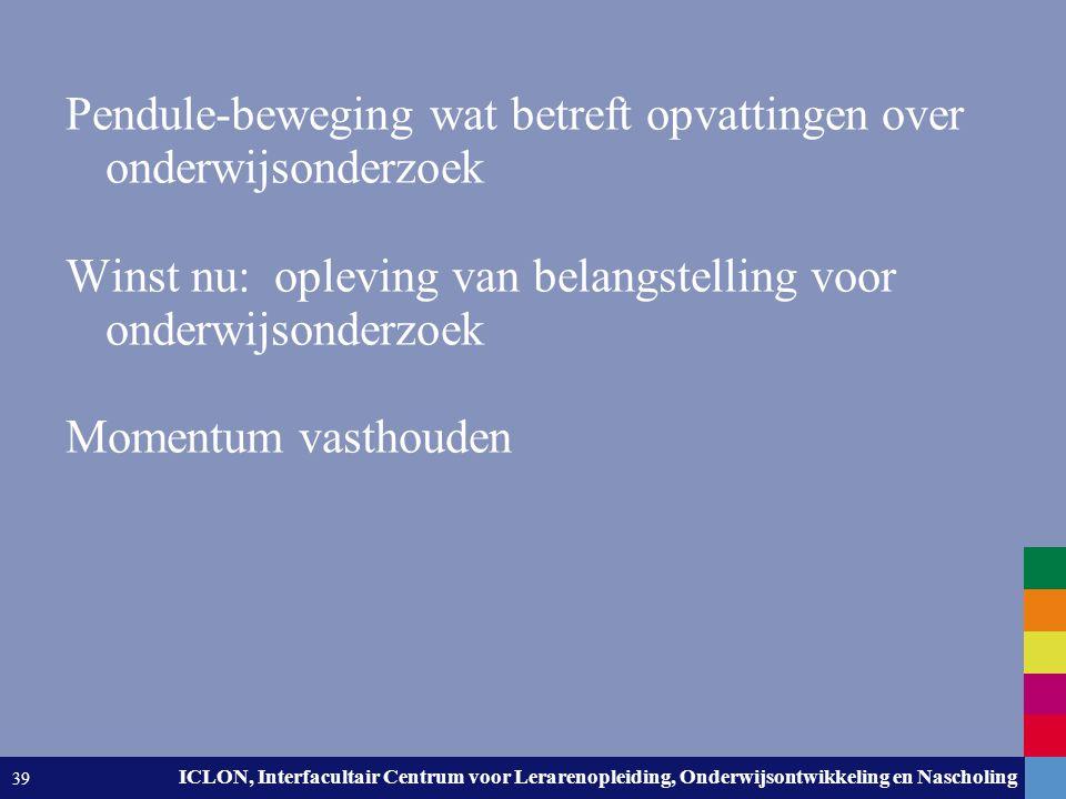 Leiden University. The university to discover. ICLON, Interfacultair Centrum voor Lerarenopleiding, Onderwijsontwikkeling en Nascholing 39 Pendule-bew