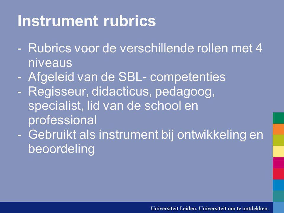 Instrument rubrics -Rubrics voor de verschillende rollen met 4 niveaus -Afgeleid van de SBL- competenties -Regisseur, didacticus, pedagoog, specialist