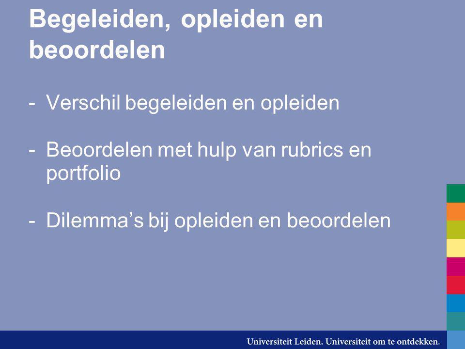 Begeleiden, opleiden en beoordelen -Verschil begeleiden en opleiden -Beoordelen met hulp van rubrics en portfolio -Dilemma's bij opleiden en beoordele
