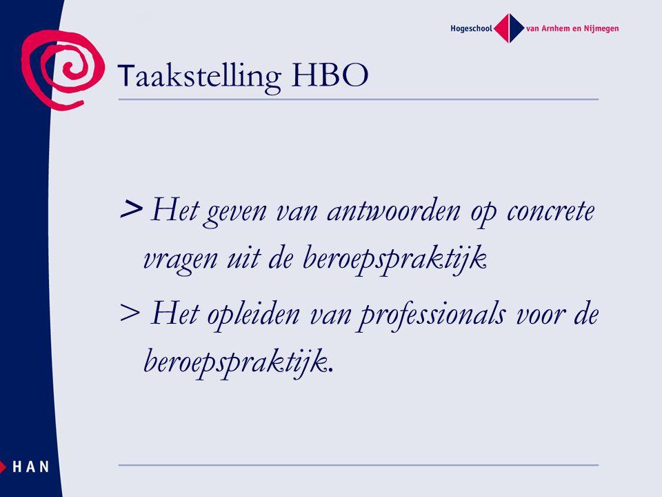 T aakstelling HBO > Het geven van antwoorden op concrete vragen uit de beroepspraktijk > Het opleiden van professionals voor de beroepspraktijk.