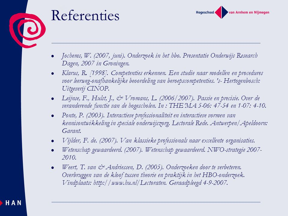 Referenties Jochems, W. (2007, juni). Onderzoek in het hbo. Presentatie Onderwijs Research Dagen, 2007 in Groningen. Klarus, R. [1998]. Competenties e