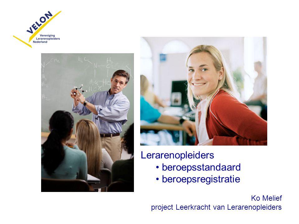 Lerarenopleiders beroepsstandaard beroepsregistratie Ko Melief project Leerkracht van Lerarenopleiders