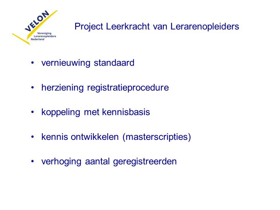 vernieuwing standaard herziening registratieprocedure koppeling met kennisbasis kennis ontwikkelen (masterscripties) verhoging aantal geregistreerden