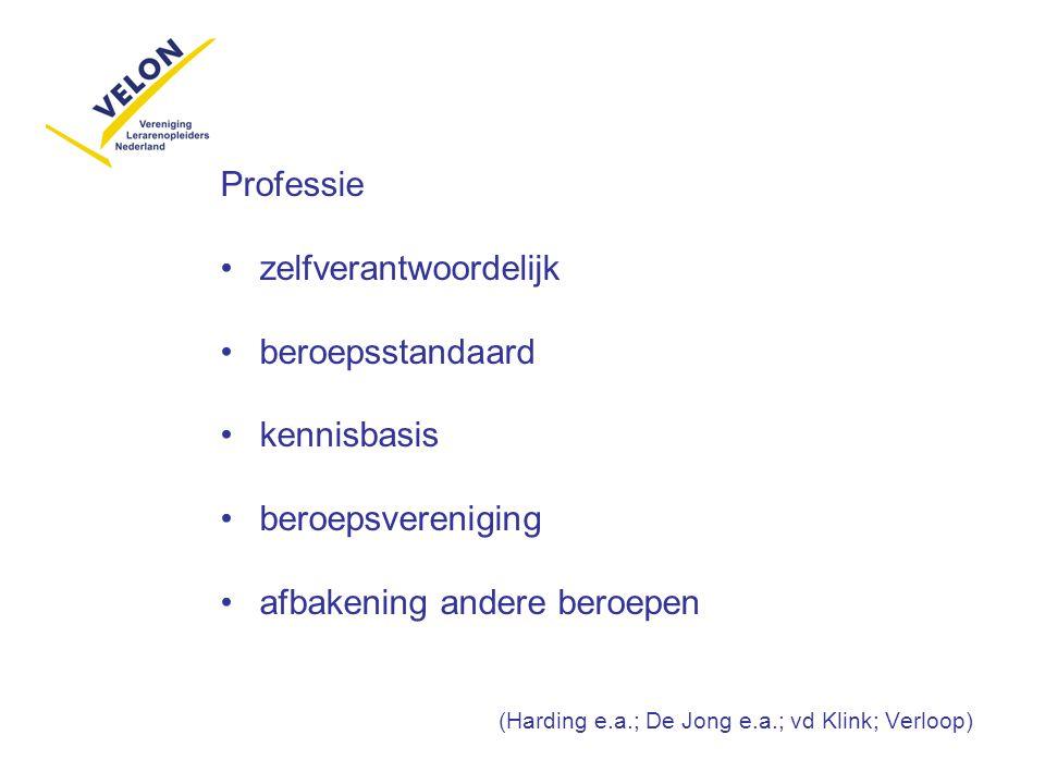 Professie zelfverantwoordelijk beroepsstandaard kennisbasis beroepsvereniging afbakening andere beroepen (Harding e.a.; De Jong e.a.; vd Klink; Verloo