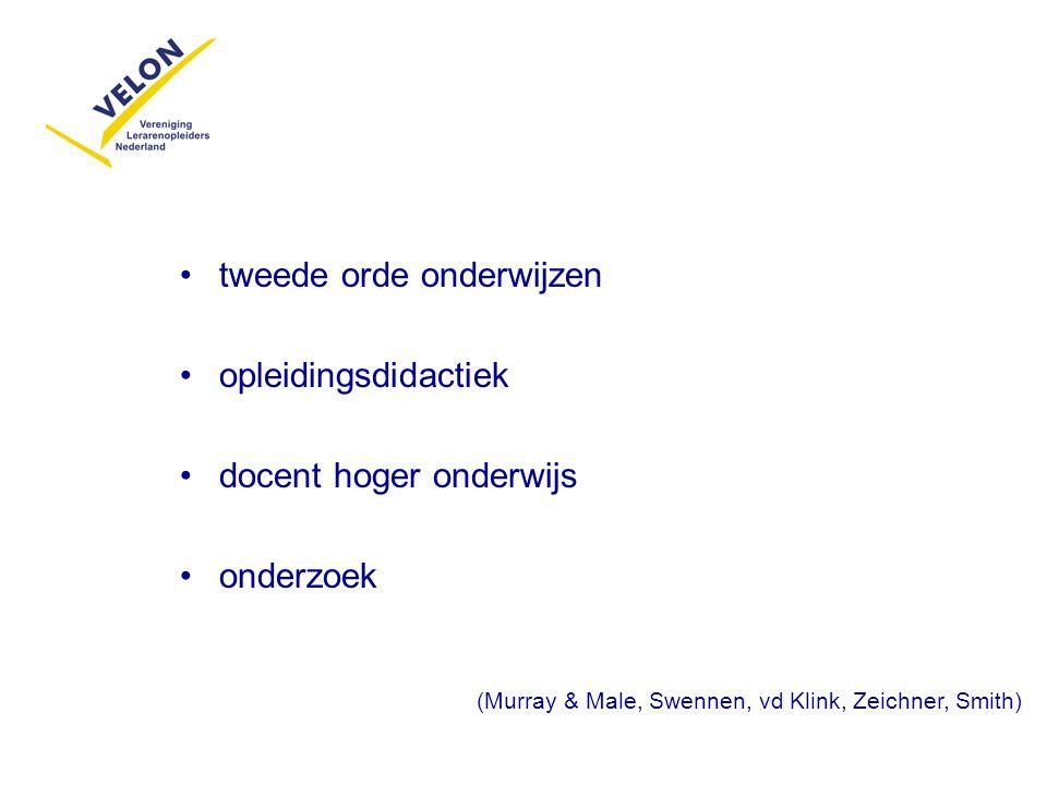 tweede orde onderwijzen opleidingsdidactiek docent hoger onderwijs onderzoek (Murray & Male, Swennen, vd Klink, Zeichner, Smith)