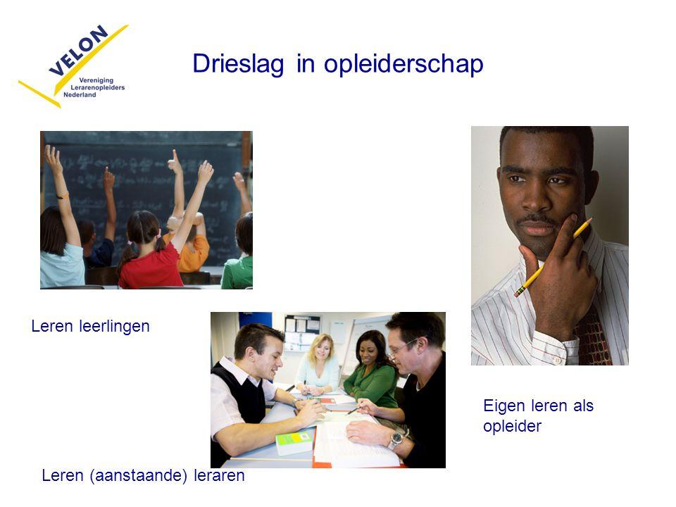 Drieslag in opleiderschap Leren leerlingen Leren (aanstaande) leraren Eigen leren als opleider