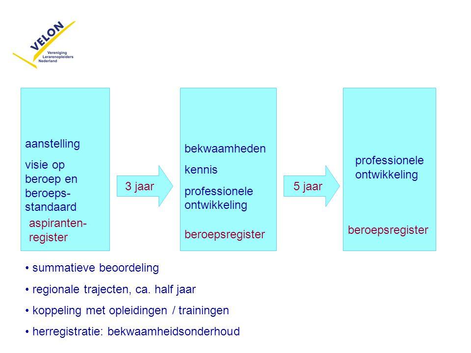 aanstelling visie op beroep en beroeps- standaard 3 jaar bekwaamheden kennis professionele ontwikkeling beroepsregister professionele ontwikkeling ber