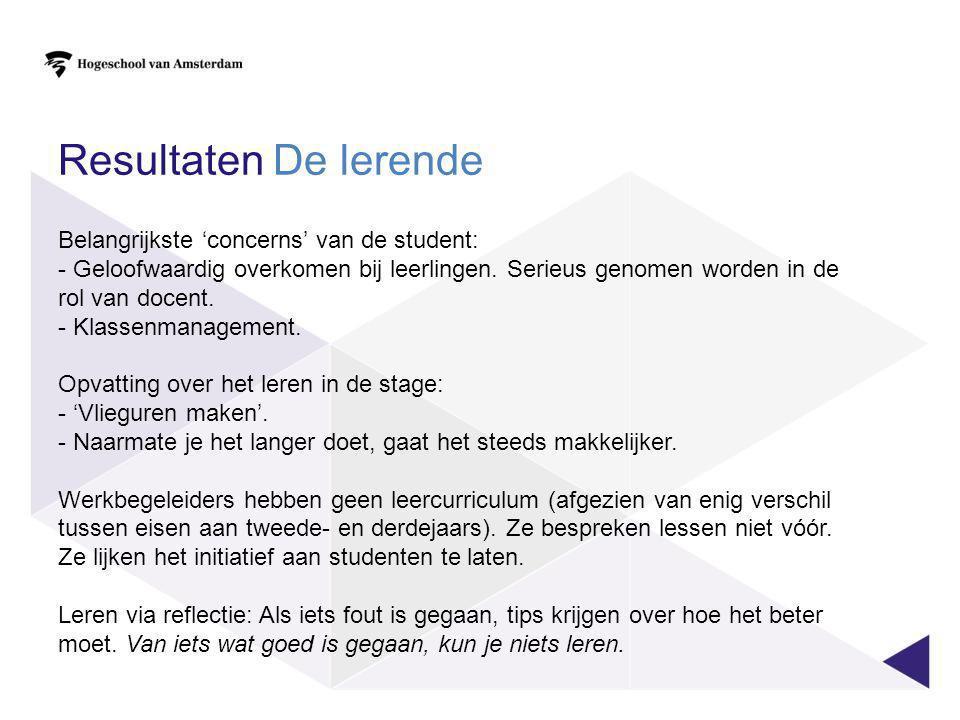 Resultaten De lerende Belangrijkste 'concerns' van de student: - Geloofwaardig overkomen bij leerlingen. Serieus genomen worden in de rol van docent.