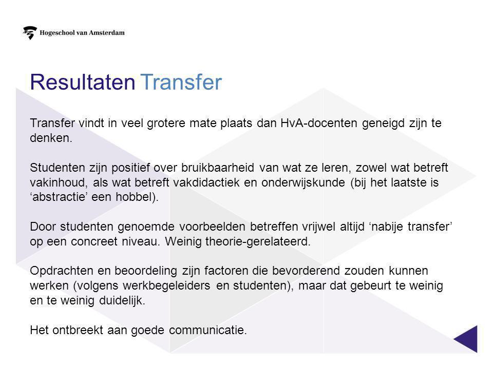 Resultaten Transfer Transfer vindt in veel grotere mate plaats dan HvA-docenten geneigd zijn te denken. Studenten zijn positief over bruikbaarheid van