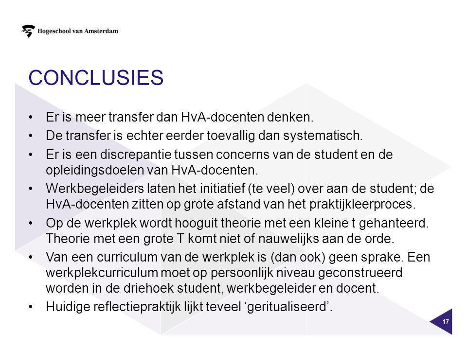 CONCLUSIES Er is meer transfer dan HvA-docenten denken. De transfer is echter eerder toevallig dan systematisch. Er is een discrepantie tussen concern