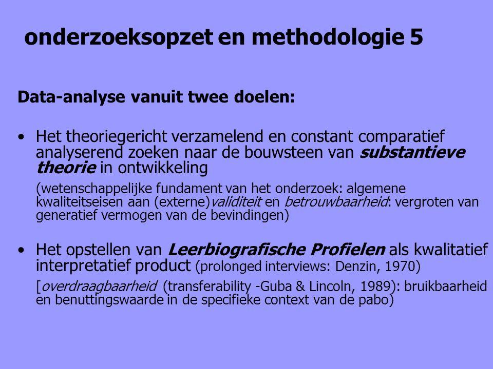 onderzoeksopzet en methodologie 5 Data-analyse vanuit twee doelen: Het theoriegericht verzamelend en constant comparatief analyserend zoeken naar de b