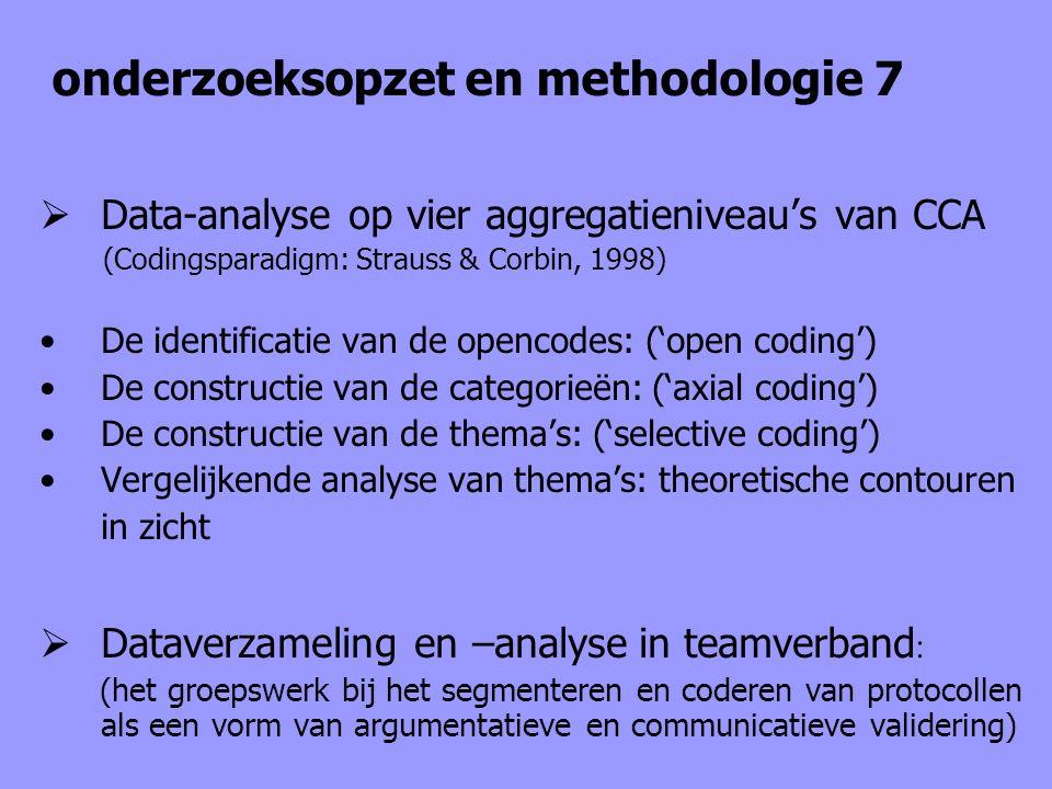 onderzoeksopzet en methodologie 7  Data-analyse op vier aggregatieniveau's van CCA (Codingsparadigm: Strauss & Corbin, 1998) De identificatie van de