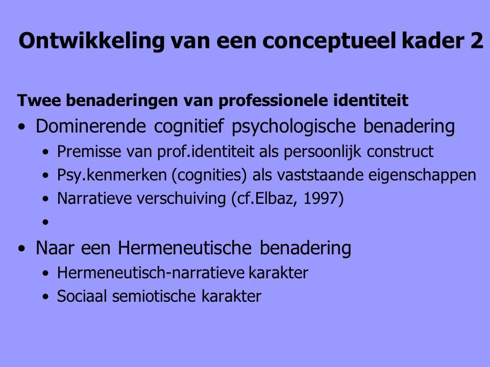 Ontwikkeling van een conceptueel kader 2 Twee benaderingen van professionele identiteit Dominerende cognitief psychologische benadering Premisse van p