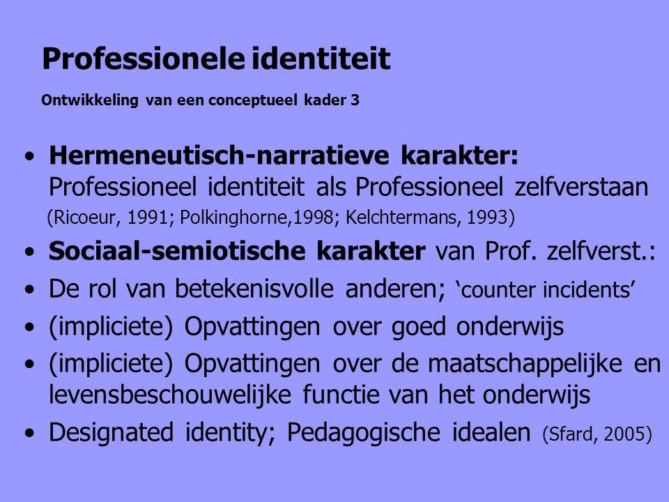 Professionele identiteit Ontwikkeling van een conceptueel kader 3 Hermeneutisch-narratieve karakter: Professioneel identiteit als Professioneel zelfve