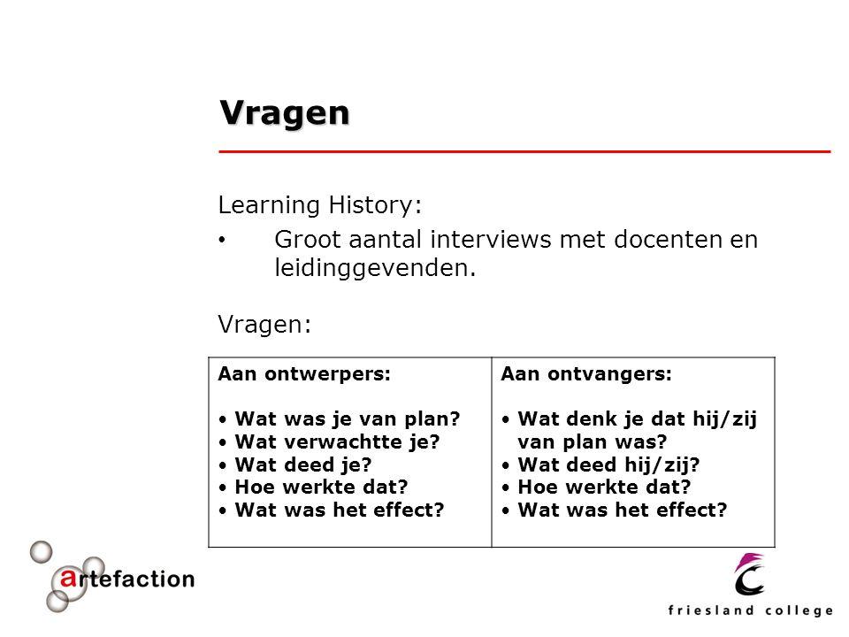 Vragen Learning History: Groot aantal interviews met docenten en leidinggevenden. Vragen: Aan ontwerpers: Wat was je van plan? Wat verwachtte je? Wat