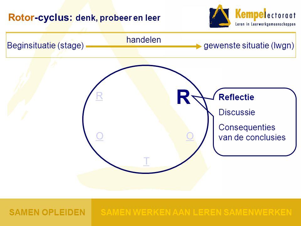 R O T O R Reflectie Discussie Consequenties van de conclusies Beginsituatie (stage) gewenste situatie (lwgn) handelen Rotor-cyclus: denk, probeer en l