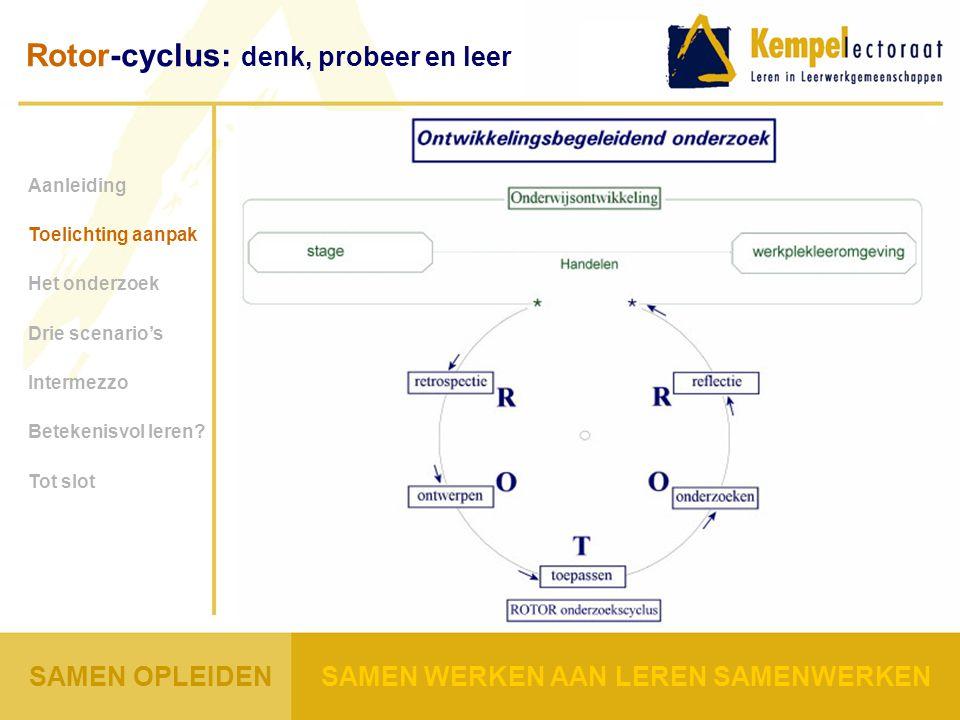 Rotor-cyclus: denk, probeer en leer Aanleiding Toelichting aanpak Het onderzoek Drie scenario's Intermezzo Betekenisvol leren.
