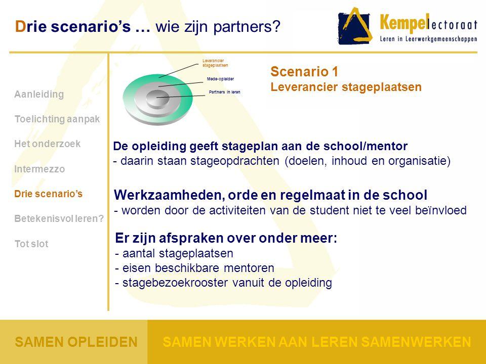 Scenario 1 Leverancier stageplaatsen Werkzaamheden, orde en regelmaat in de school - worden door de activiteiten van de student niet te veel beïnvloed Aanleiding Toelichting aanpak Het onderzoek Intermezzo Drie scenario's Betekenisvol leren.