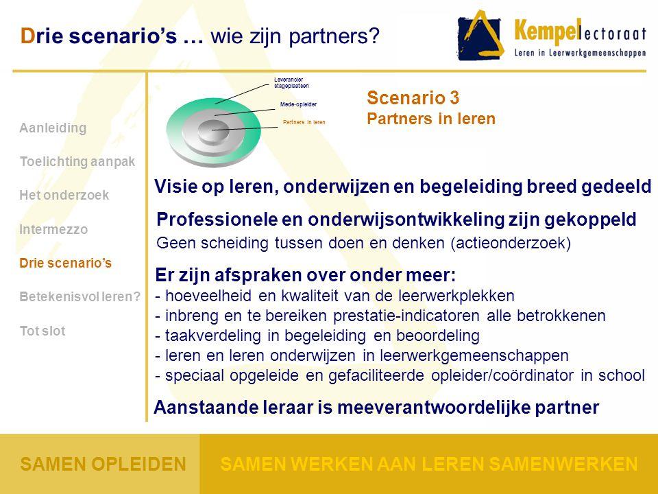 Professionele en onderwijsontwikkeling zijn gekoppeld Geen scheiding tussen doen en denken (actieonderzoek) Aanleiding Toelichting aanpak Het onderzoek Intermezzo Drie scenario's Betekenisvol leren.